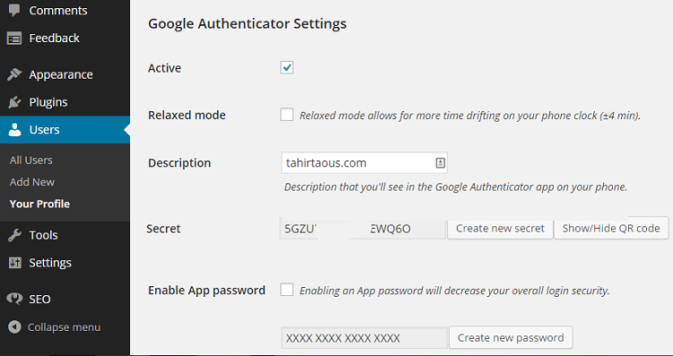google-authenicator-setting